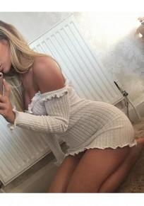Beige Lace Bandeau Off Shoulder Backless Mini Dress