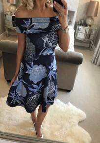 Blue Flowers Print Draped Bandeau Off Shoulder Fashion Midi Dress