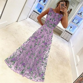 Purple Floral Print Draped Embroidery Grenadine Casual Maxi Dress