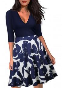 Dark Blue Flowers Print Deep V-neck High Waisted Half Sleeve Skater Midi Dress
