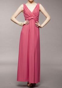 Rot Drapiert Rückenfreie V-Ausschnitt Ärmellos Lange Abendkleid Elegante Party Maxikleid Ballkleid