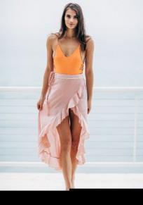 Mini abito spalle asimmetriche incrocia profondo v-collo indietro in alto-basso giallo-rosa