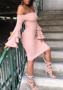 Pink Backless Cascading Ruffle Boat Neck Off Shoulder Bodycon Midi Dress