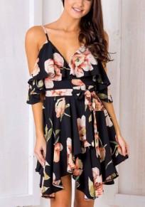 Black Flowers Print Ruffle Irregular Deep V Backless Mini Dress