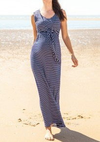 Navy Blue Striped Draped Irregular Round Neck Sleeveless Maternity Maxi Dress