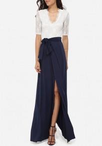 White Navy blue Patchwork Lace Sashes Draped V-neck Front Slit Party Maxi Dress
