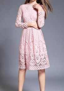 Pink Patchwork Lace Draped Long Sleeve Elegant Midi Dress