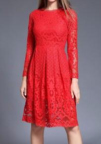 RedPatchwork Lace Draped Long Sleeve Elegant Midi Dress