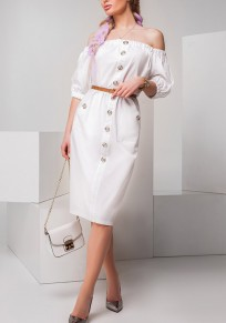 White Belt Single Breasted Pockets Off-Shoulder Midi Dress