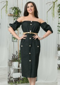 Black Belt Single Breasted Pockets Off-Shoulder Midi Dress