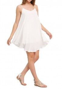 White Draped Irregular Cross Back Backless Spaghetti Strap For Junior Cute Mini Dress