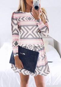 Multicolor Geometric Ruffle Round Neck Long Sleeve Mini Dress