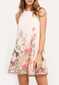 Beige Flowers Print Cut Out Buttons Round Neck Skater Mini Dress
