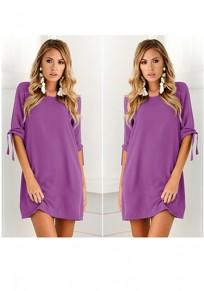 Purple Plain Lace-up Round Neck Casual Mini Dress