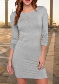 Grau Schlichtes Günstige Rundhals Langarm Beiläufig MidiKleid Enge Kleider T-Shirt Kleid Kurz