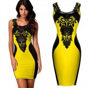 Yellow Patchwork Lace Print Round Neck Fashion Mini Dress