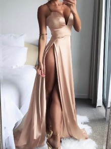 Golden Satin Spaghetti Straps Backless Double Slit Deep V-neck Elegant Beach Party Maxi Dress