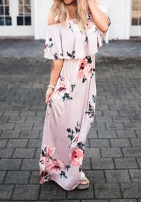 Robe longue imprimée à fleurs col bateau volantée drapé épaule dénudée décontracté rose