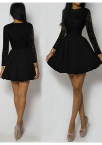 Black Patchwork Floral Lace Long Sleeve High Waisted Homecoming Tutu Party Mini Dress