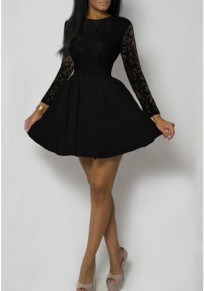 Black Patchwork Floral Lace Long Sleeve High Waisted Homecoming Party Mini Dress