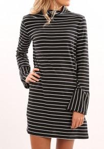 Black Striped High Neck Casual Mini Dress
