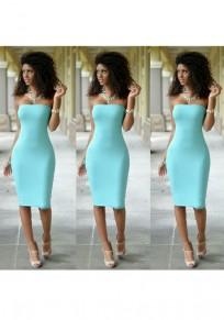 Lake Blue Bandeau Fashion Cotton Midi Dress