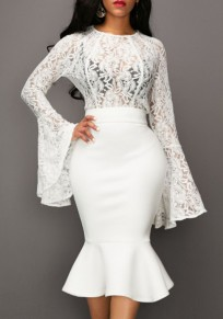 White Floral Patchwork Lace Mermaid One-Piece Brideside Cocktail Party Midi Dress