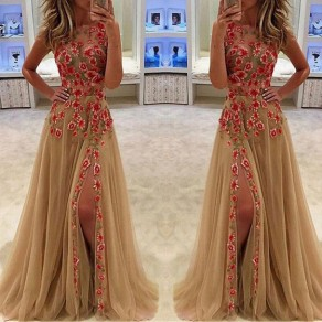 Golden Floral Embroidery Round Neck Fashion Maxi Dress