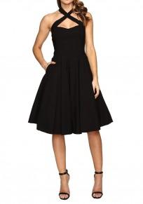Black Pleated Backless Halter Neck Off Shoulder Homecoming Party Skater Formal Midi Dress