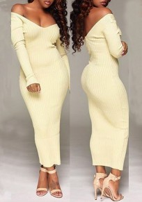 Beige Backless Draped Off Shoulder Long Sleeve Bodycon Clubwear Party Maxi Dress