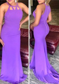 Lilac Purple Cut Out Zipper Draped Mermaid Prom Evening Party Maxi Dress