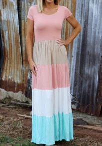 Pink Striped Pleated Round Neck Short Sleeve Maxi Dress