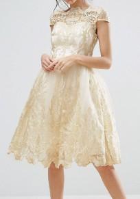 Mi-longue robe brodée dentelle plissé tutu élégant mariage de soirée dorée