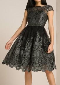 Mi-longue robe brodée dentelle plissé tutu tulle élégant noir