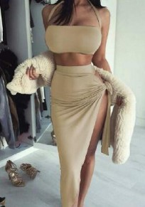 Khaki Plain Bandeau Irregular Fashion Maxi Dress