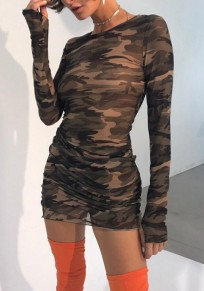 Camouflage Grenadine Round Neck Long Sleeve Fashion Mini Dress
