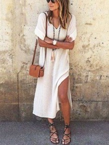 White Draped Slit Side V-neck Elbow Sleeve Boho Casual Beach Maxi Dress