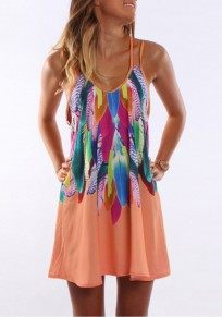 Mini-robe imprimé floral ceinture condole u-cou décontractée orange