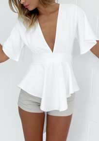 White Bow Cut Out V-neck Short Sleeve Fashion Mini Dress