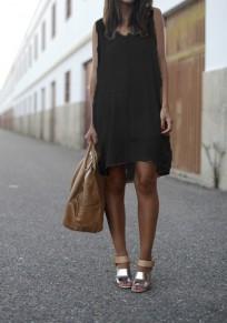 Schwarzes drapiertes unregelmäßiges V-Ansatz Ärmellos beiläufiges Minikleid
