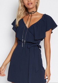 Navy Blue V-neck Ruffle Belt Short Sleeve Fashion Mini Dress