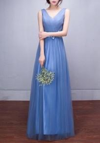 Blue Patchwork Sashes Grenadine Pleated V-neck Sleeveless Elegant Bridesmaid Maxi Dress