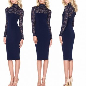 Black Patchwork Lace Draped Elegant Bodycon Bridesmaid Party Long Sleeve Midi Dress