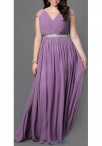 Purple Sequin Pleated Draped V-neck Sleeveless Elegant Plus Size Party Maxi Dress