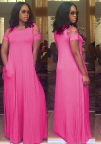 Pink Draped Cut Out Pockets Flowy Round Neck Short Sleeve Maxi Dress