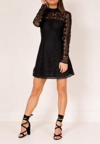 Black Patchwork Lace Cut Out Las Vegas Long Sleeve Beach Party Mini Dress