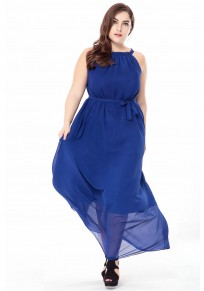 Royal Blue Draped Tie Back Sashes Plus Size Bohemian Party Maxi Dress
