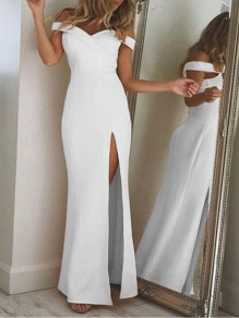 White Cut Out Boat Neck Side Slits Fashion Cocktail Party Formal Prom Maxi Dress