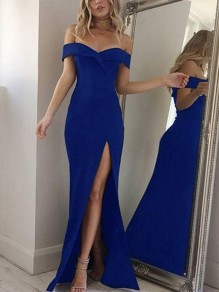 Blue Cut Out Side Slit Boat Neck Cocktail Party Prom Fashion Maxi Dress