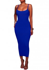 Navy Blue Backless Spaghetti Strap Round Neck Bodycon Pencil Maxi Dress